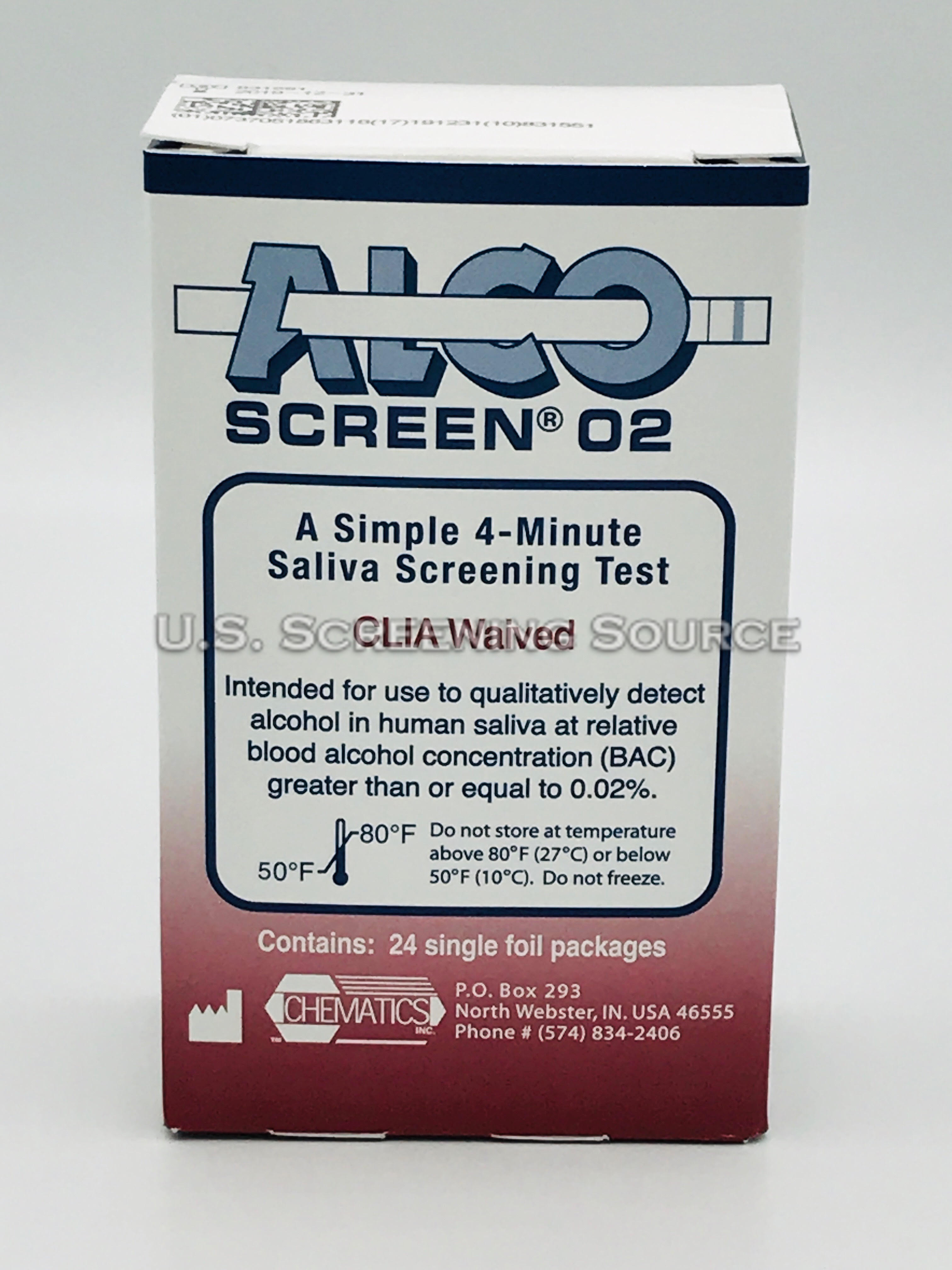 02 Box Alcoscreen 02 Dot Alcohol Test 24 Tests Per Box