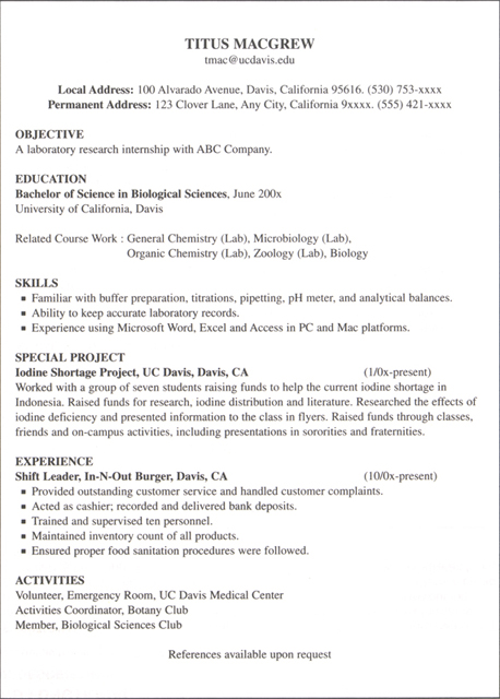 Internship Resume Examples Resume Format Download Pdf Internship   How To  Write A Resume For An