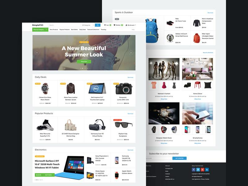 20+ Elegant  Free Ecommerce PSD Website Templates UTemplates