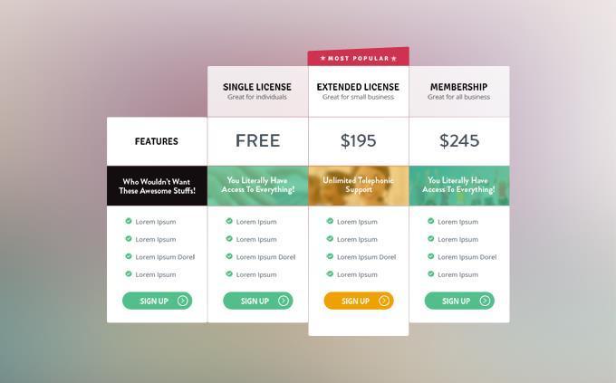 21 Elegant  Free Pricing Tables Templates UTemplates