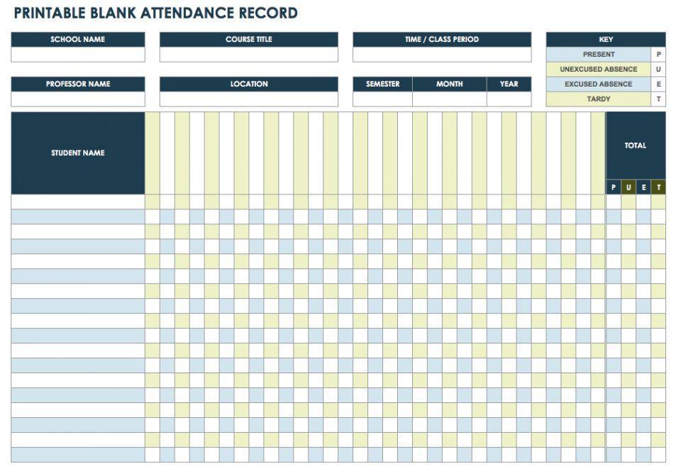 25+ Printable Attendance Sheet Templates Excel / Word UTemplates