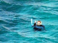 Patrick qui frime sur la barrière de corail!