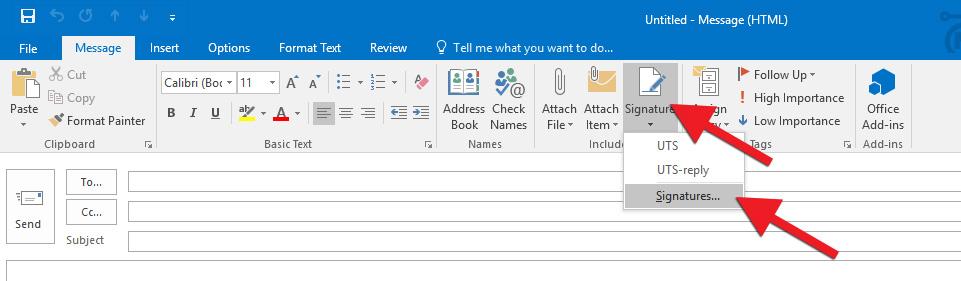 Creating a signature in Outlook for Windows 10 Upplýsingatæknisvið