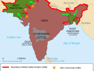 This map shows the partition of India, West Pakistan, East Pakistan, and Kashmir, including the directions of movements of Hindus, Sikhs, and Muslims : Image: Wikimedia Commons