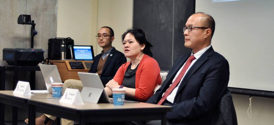 Dr. Lynette Ong (middle) and Dr. Sida Liu (right) speaking at the panel   Source: Contemporary Asian Studies Student Union