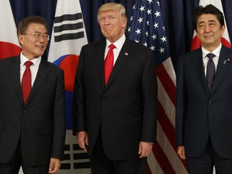 President Donald Trump with President Moon Jae-in of South Korea, left, and Prime Minister Shinzo Abe of Japan, during the G20 summit in Hamburg, Germany, July 6, 2017 | Photo Source: NPR