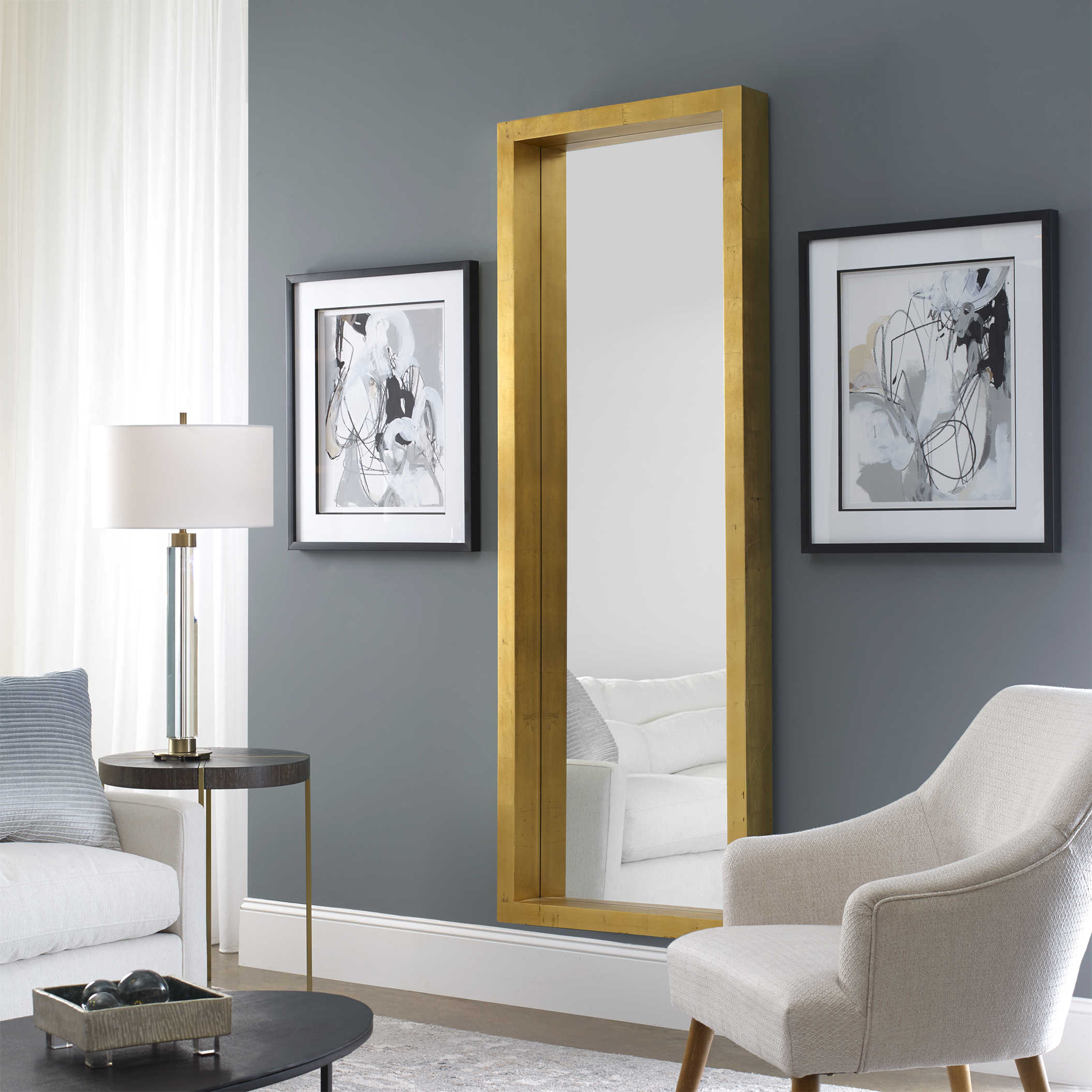 Unique Furniture Edmonton Uttermost Edmonton Gold Leaner Mirror