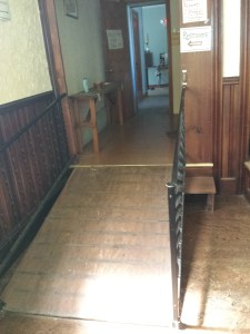 Ramped hallway leading to the back of the church