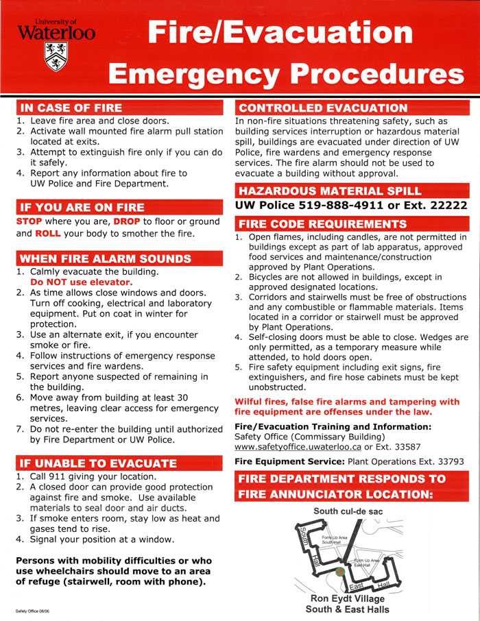 Emergency contacts Safety Office University of Waterloo