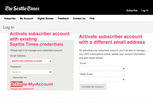 Alternative subscriber activation
