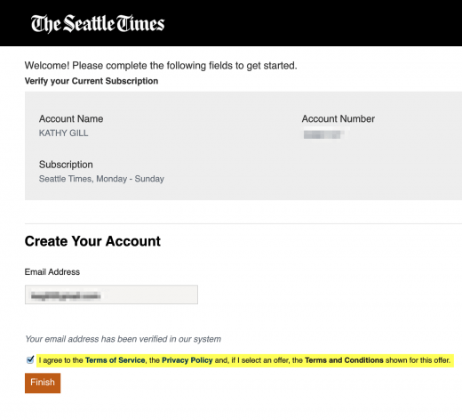 Seattle Times subscriber activation