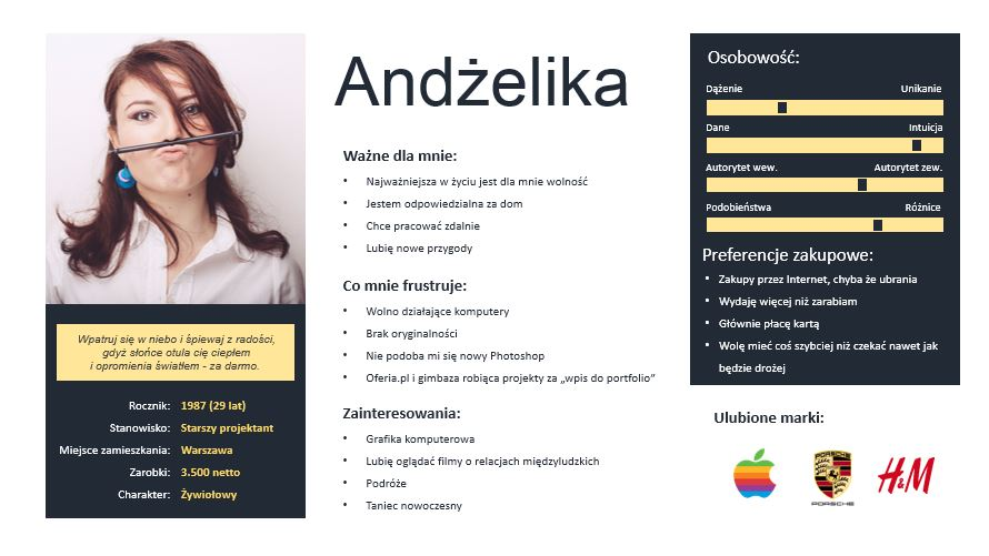 Persona template, szablon persony, ux design Persona - Szablony - Html Resume Template