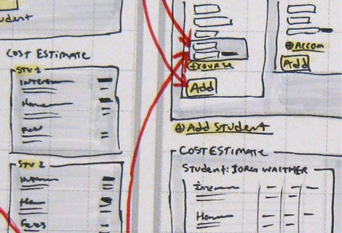 A paper wireframe template in action.