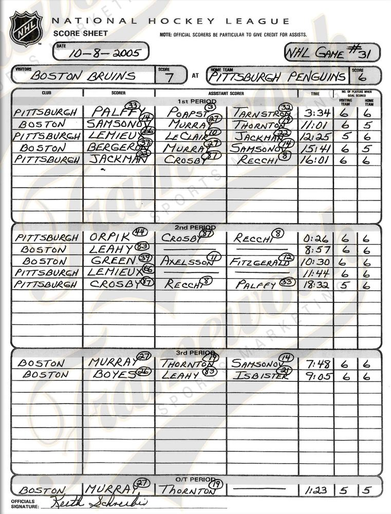 Sidney Crosby - Framed First Goal Collage Scoresheet - NHL Auctions - hockey score sheet