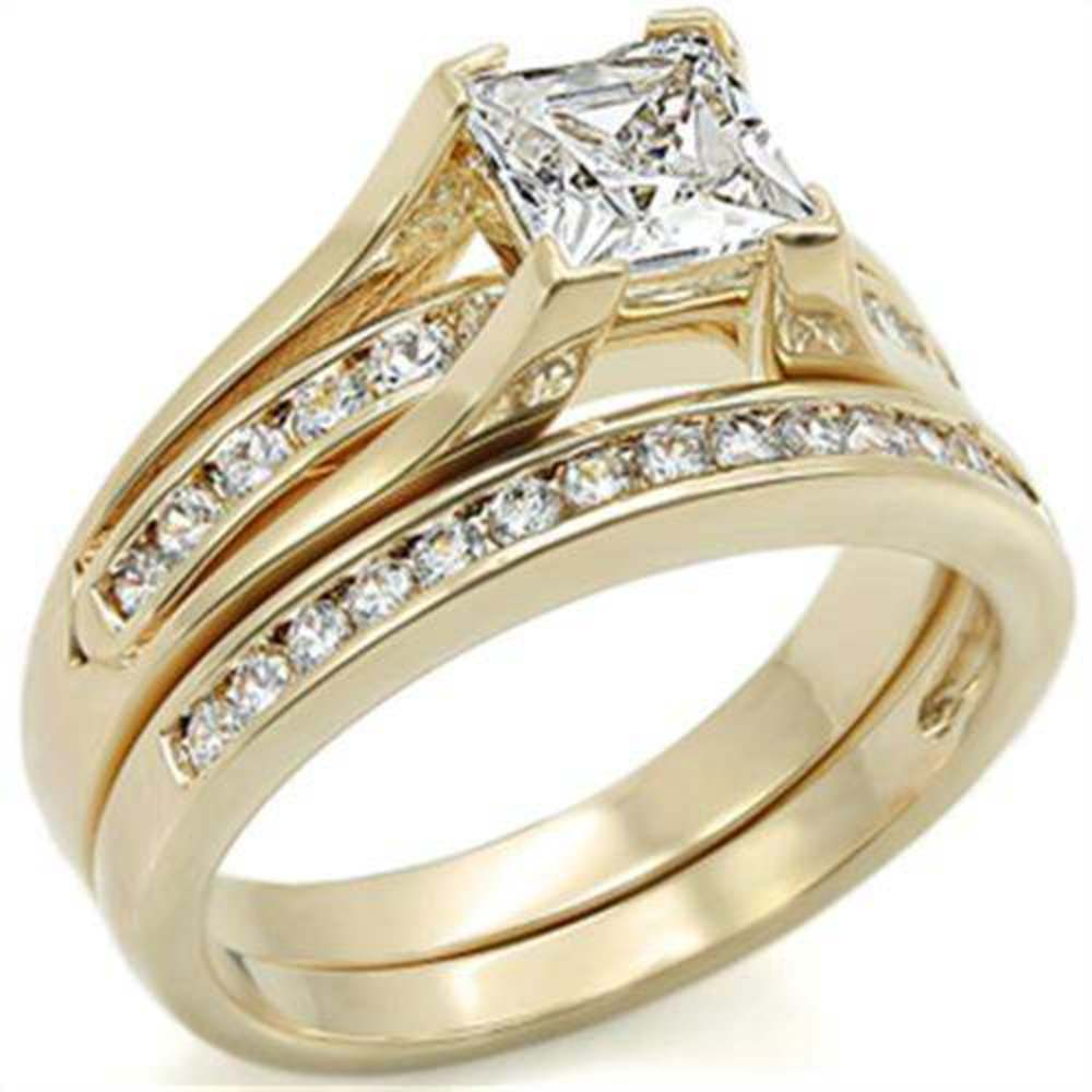 auctionDisplay cubic zirconia wedding sets Princess Cut Cubic Zirconia Wedding Set in 14K Yellow Gold Plating Size 5