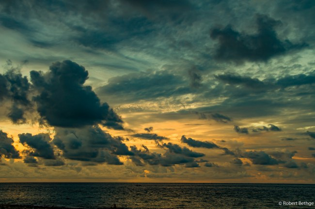 sunset with clouds over east-bali