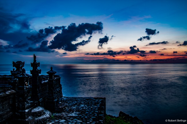 Sunrise at eastern tip of Bali, looking towards Lombok