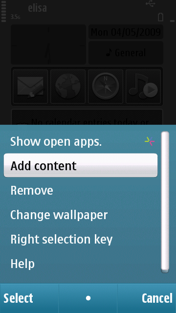 Nokia N97 Home Screen Widets