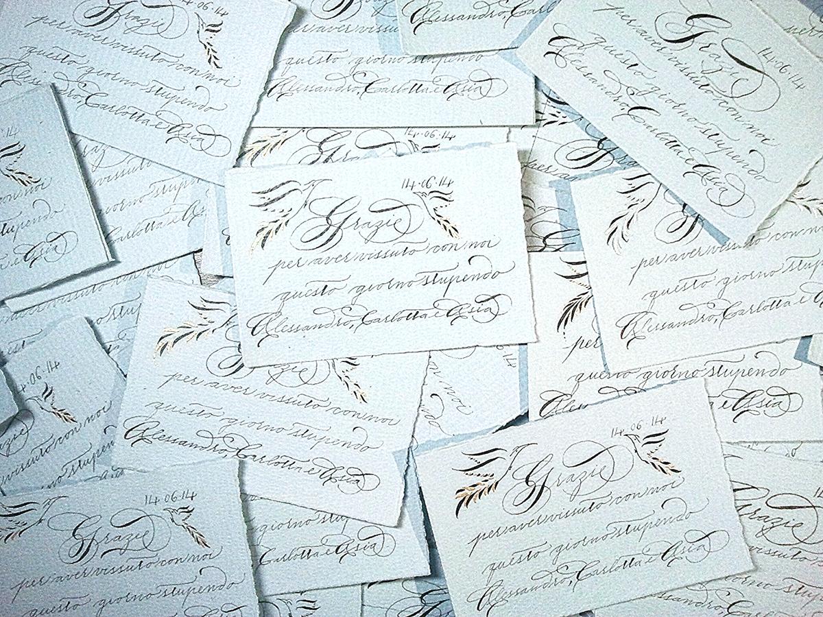 Biglietti in carta di cotone scritti a mano con ferro gallico