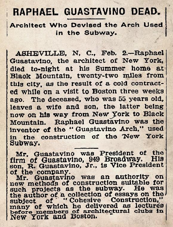 Esquela publicada por el New York Times el 3 de febrero de 1908   © The New York Times. Fuente: http://arquicatalana.blogspot.com.es/