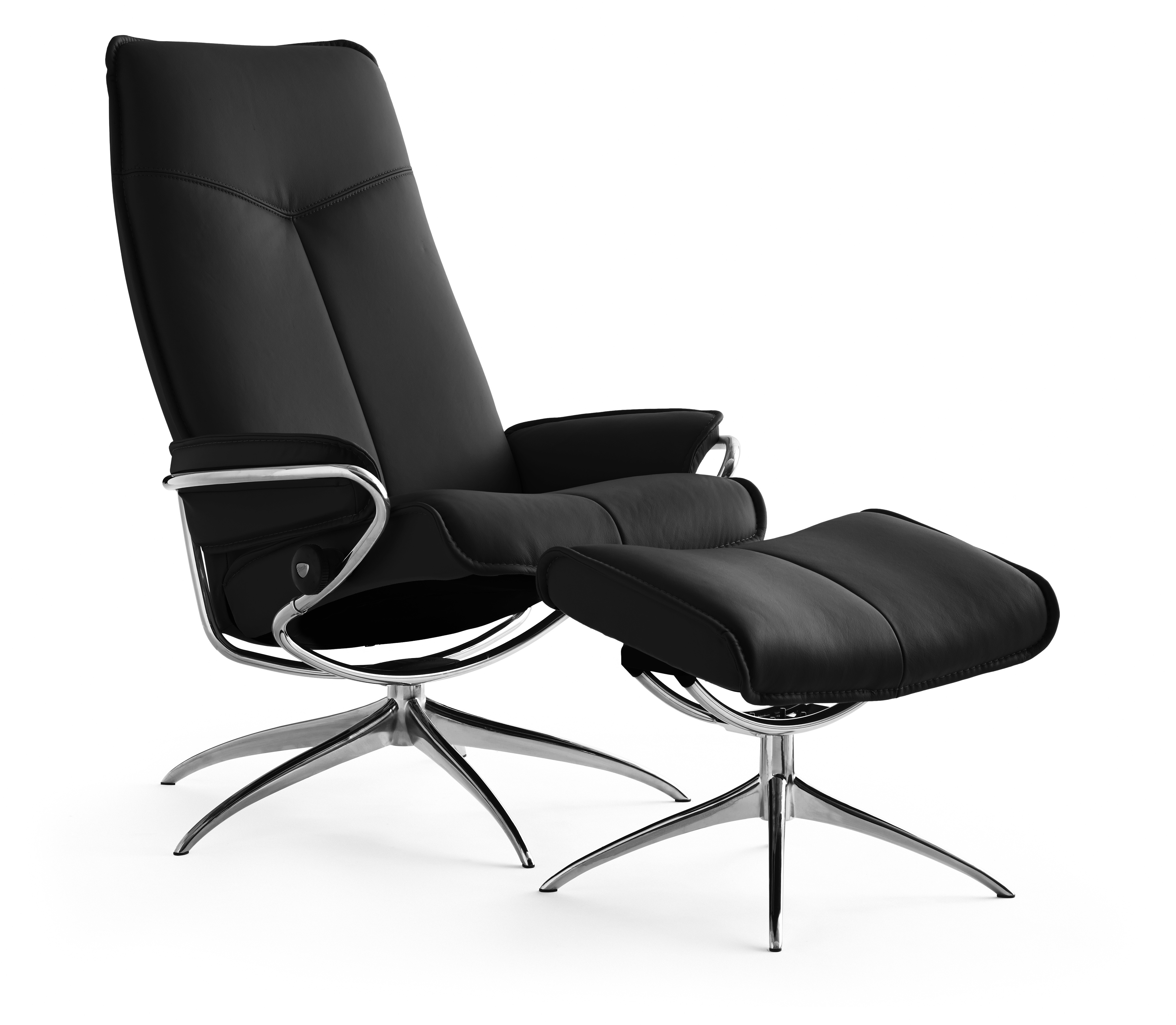 Stressless-world.com Ekornes Stressless City High Back Recliner With Ottoman
