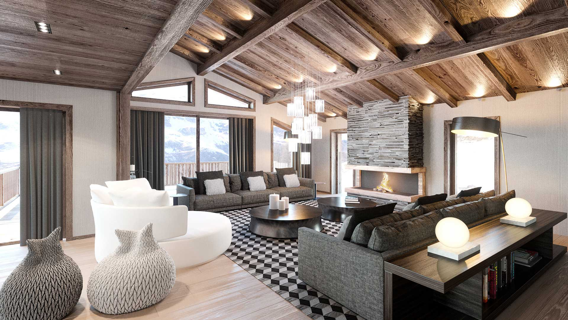 Salon De Luxe Design 3d Creation Of A Luxurious Chalet 3d French Studio
