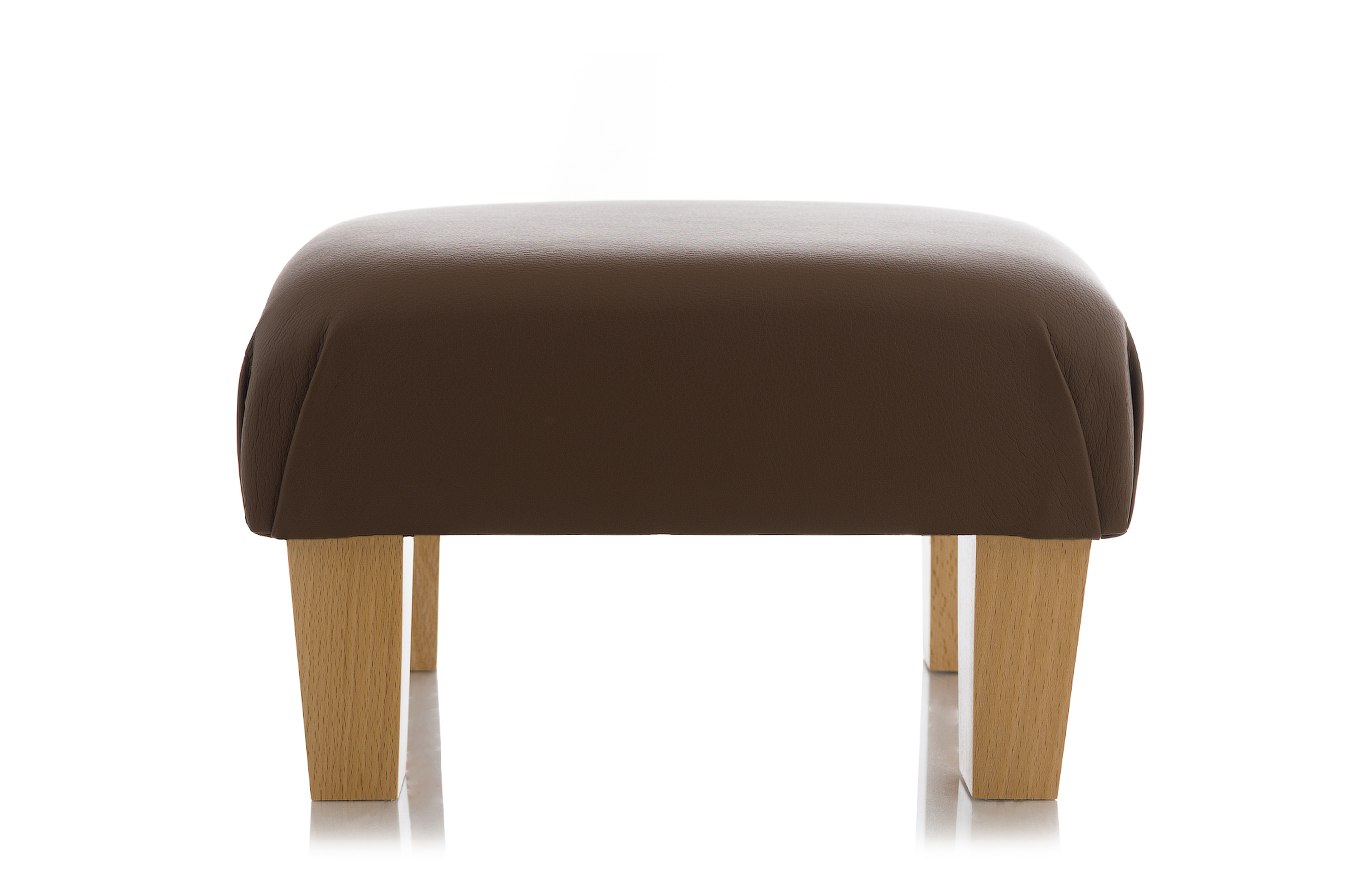 Klein Voetenbankje New Leather Footstool Black Brown Ottoman Foot Rest Small