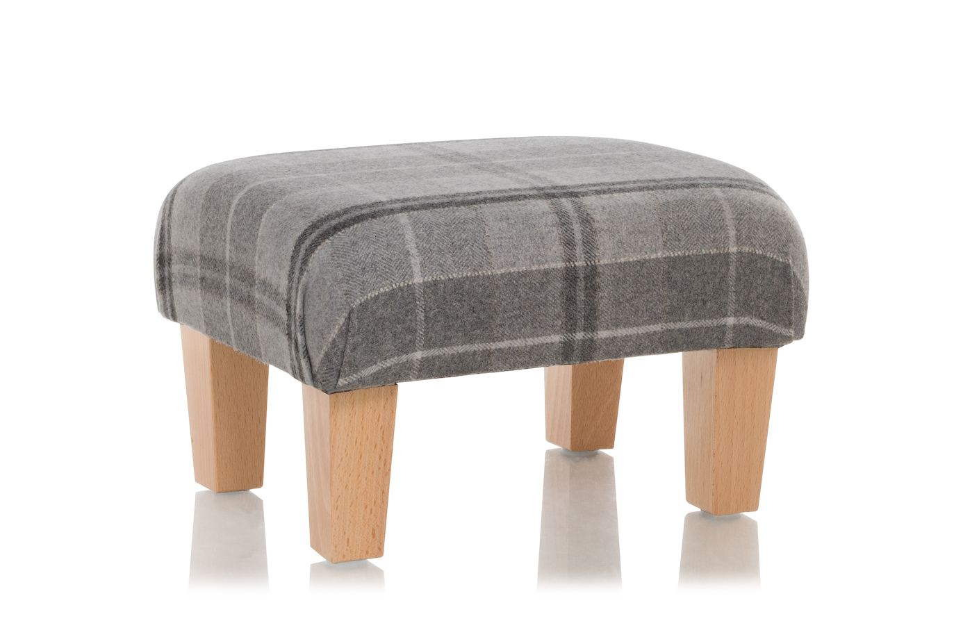 Klein Voetenbankje New Footstool Sanderson Milton Wool Fabric Grey Stool