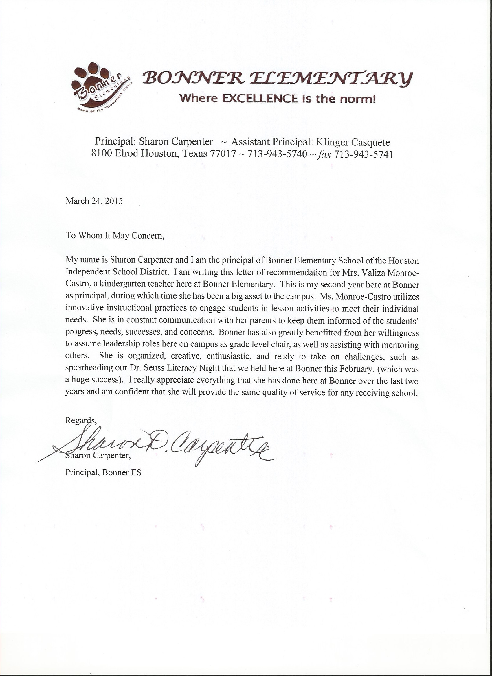 recommendation letter from supervisor