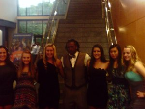 Members of the SHSU Bowling Team with former Bearkat running back Timothy Flanders.