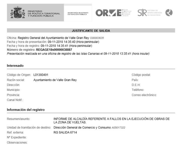 Zona Comercial de Vueltas: Escrito dirigido a la Dirección de Comercio y Consumo del Gobierno de Canarias