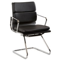 Toorak Visitor Chair, Black Leather | Value Office Furniture
