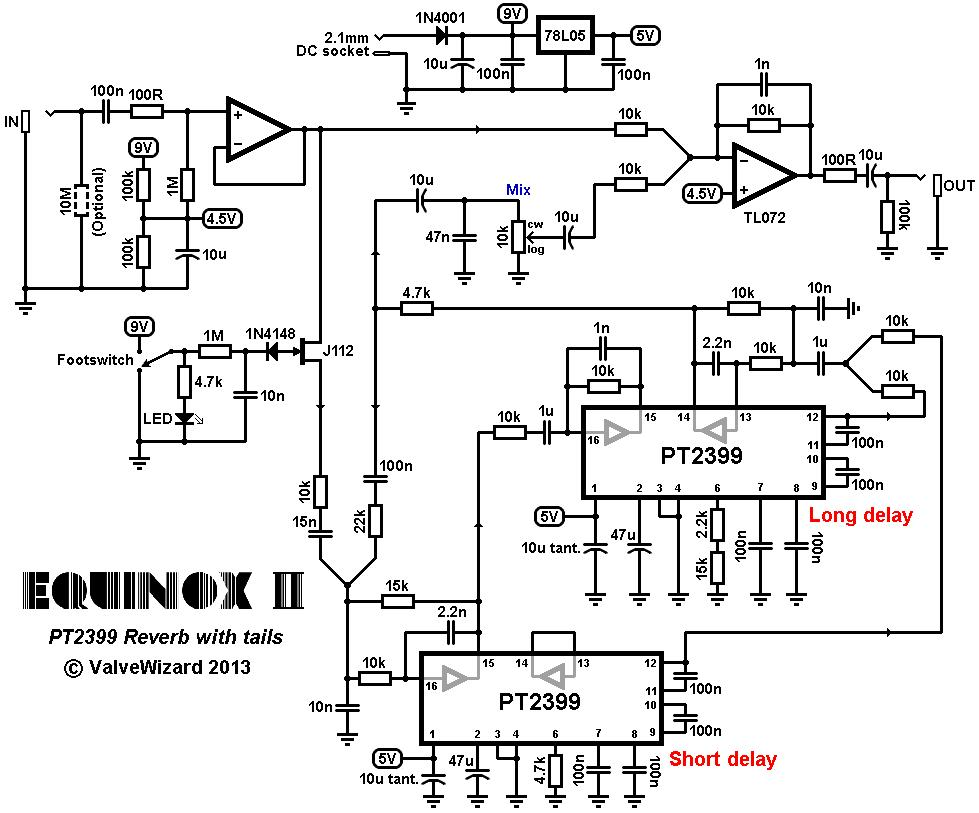 pt2399 digital delay main circuit from schematic