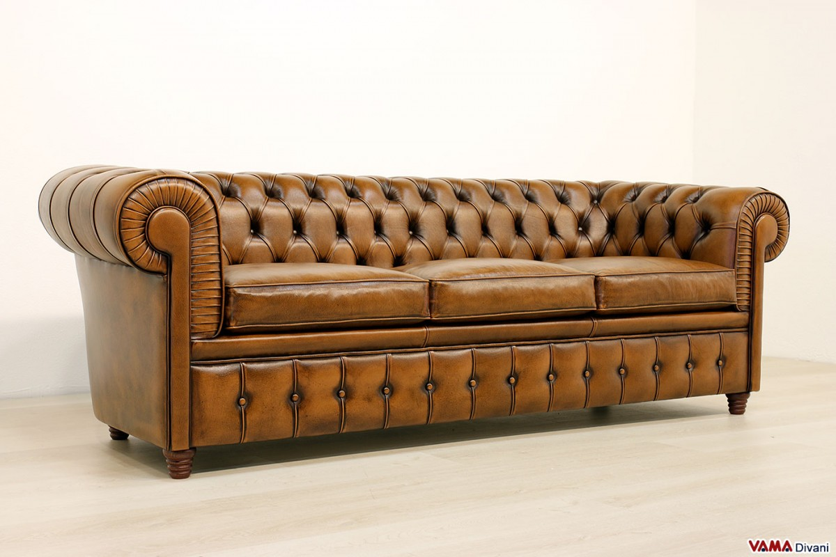 Divani Industrial Vintage Chesterfield 3 Seater Sofa