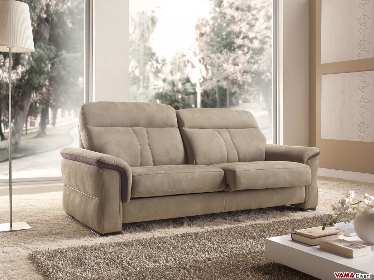 Divani Usati A Napoli Contemporary Leather And Fabric Sofa With Extendible Seats
