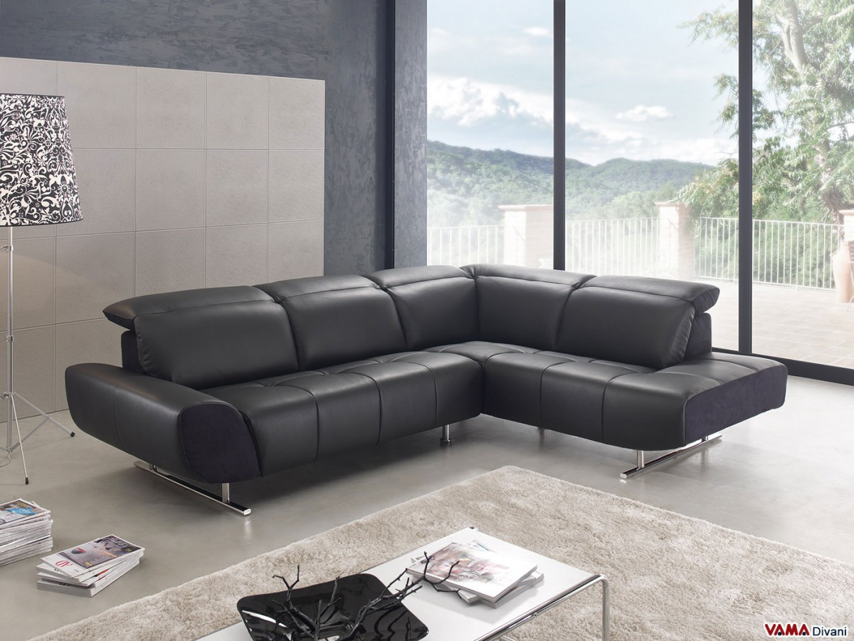 Divani Corner Sofa | Contemporary Leather Corner Sofa Bed Fiume Max ...