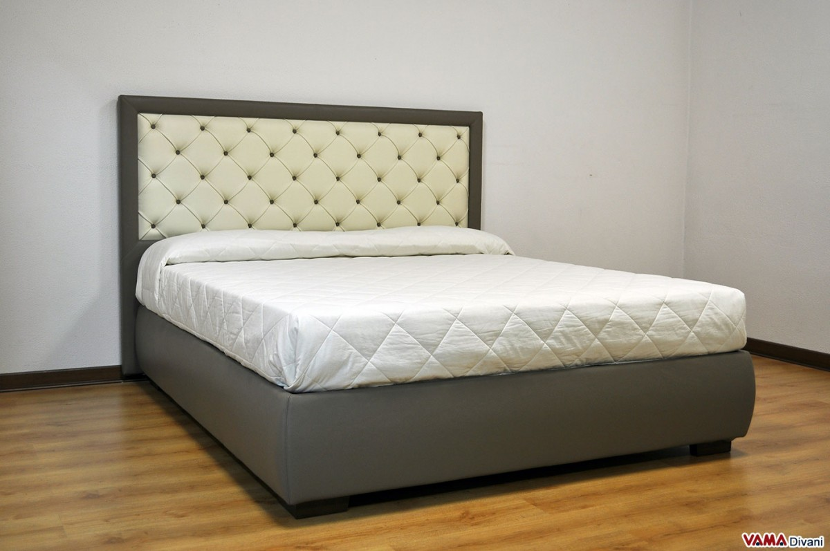 Double Bed Frame With Storage Upholstered Bed In Real Leather With Buttoned Headboard