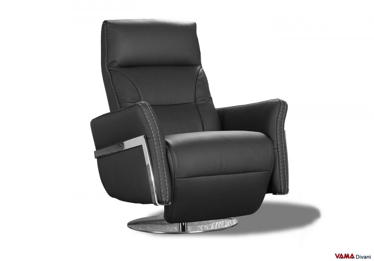 Divani Recliner Tessuto Reclining Armchair In Black Leather With Manual Mechanism