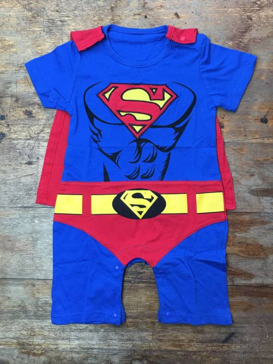 Vamers Store - Apparel - Baby Clothing - Superman Suit with Cape Baby Grow Romper - 01