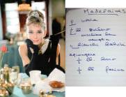 A receita copiada com a letra de Audrey Hepburn