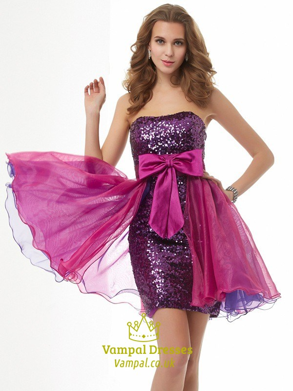 Uk4 Purple Strapless Short Sequin Cocktail Dress With