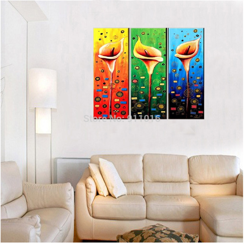 Living Room Paintings Colourful Flowers Painting Hand Painted Wall Abstract Home Decor