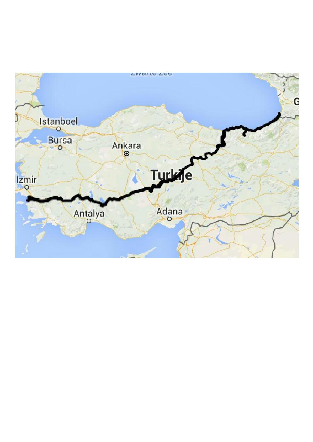Route door Turkije