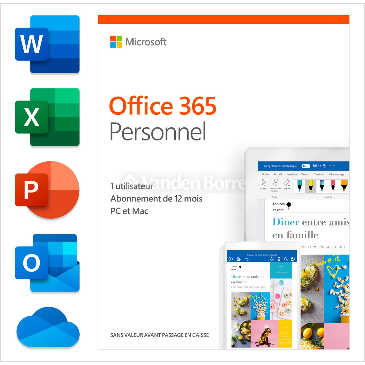 Microsoft Office Mac Fr Microsoft Office 365 Personal 1 Year Fr Chez Vanden Borre