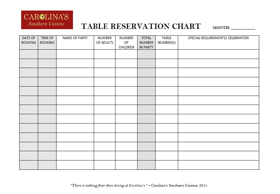 restaurant reservation template - Ozilalmanoof