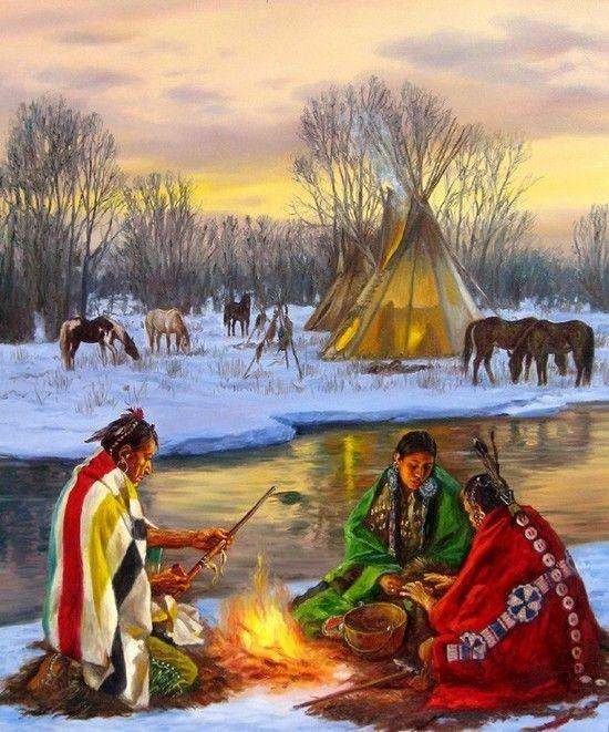 American Wallpaper Fall River Peintures Amerindiens