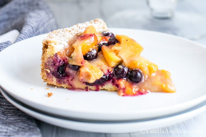 Blueberry Peach Cobbler-Tart | Vanilla And Bean