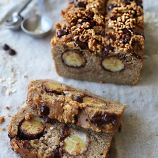 Chocolate banana bread with peanut butter crumbles