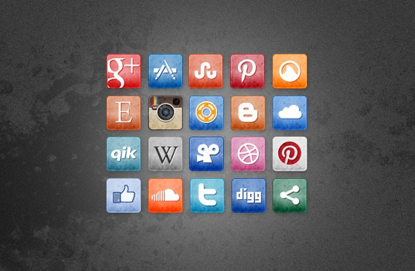 Stained and Faded Social Media Icons Vol. 3