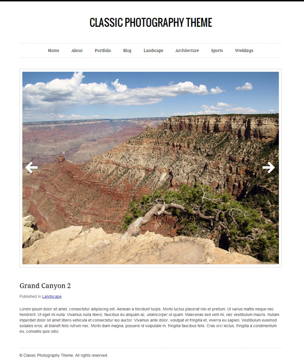 Classic Photography Theme for WordPress